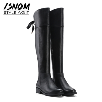 ISNOM Genuine Leather Riding Women Boots Round Toe Cross Tied Footwear Over The Knee Female Boot Thick Heels Shoes Woman 2018