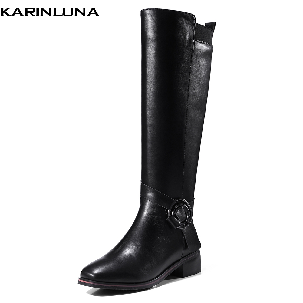 KarinLuna 2018 Genuine Cow Leather Winter Fashion Women Shoes Woman Riding Boots Large Size 33-42 Leisure knee-high BootsKarinLuna 2018 Genuine Cow Leather Winter Fashion Women Shoes Woman Riding Boots Large Size 33-42 Leisure knee-high Boots