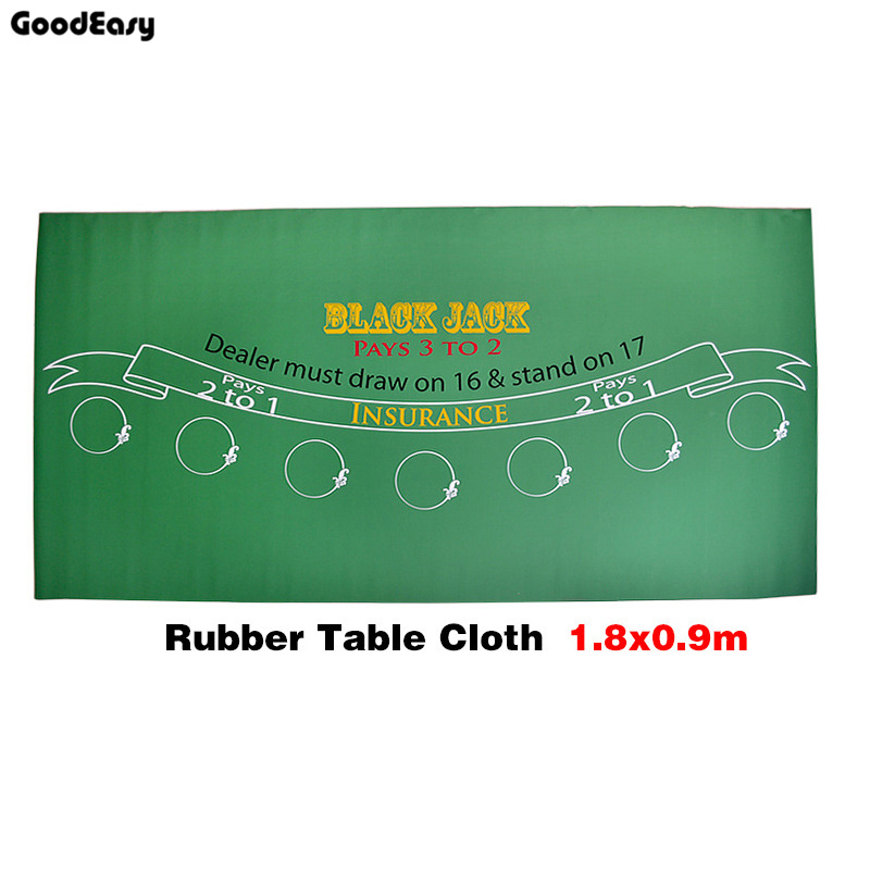 180*90cm Rubber  Black Jack 21Points Baccarat Casino Poker Tablecloth Green Table Mat Board Cloth High Quality popular 8pcs cover cloth tablecloth clip table spring loaded clamp holder plastic
