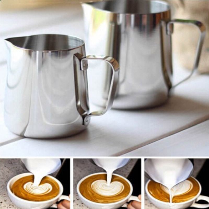 High Quality 350ML Stainless Steel Office Kitchen Craft Coffee Frothing Milk Latte Jug Fancy Coffee Foam Cup Pitcher PapelariaHigh Quality 350ML Stainless Steel Office Kitchen Craft Coffee Frothing Milk Latte Jug Fancy Coffee Foam Cup Pitcher Papelaria