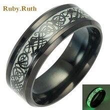 Titanium Steel black Rings Dragons Pattern Rings For Women Men Fashion Jewelry