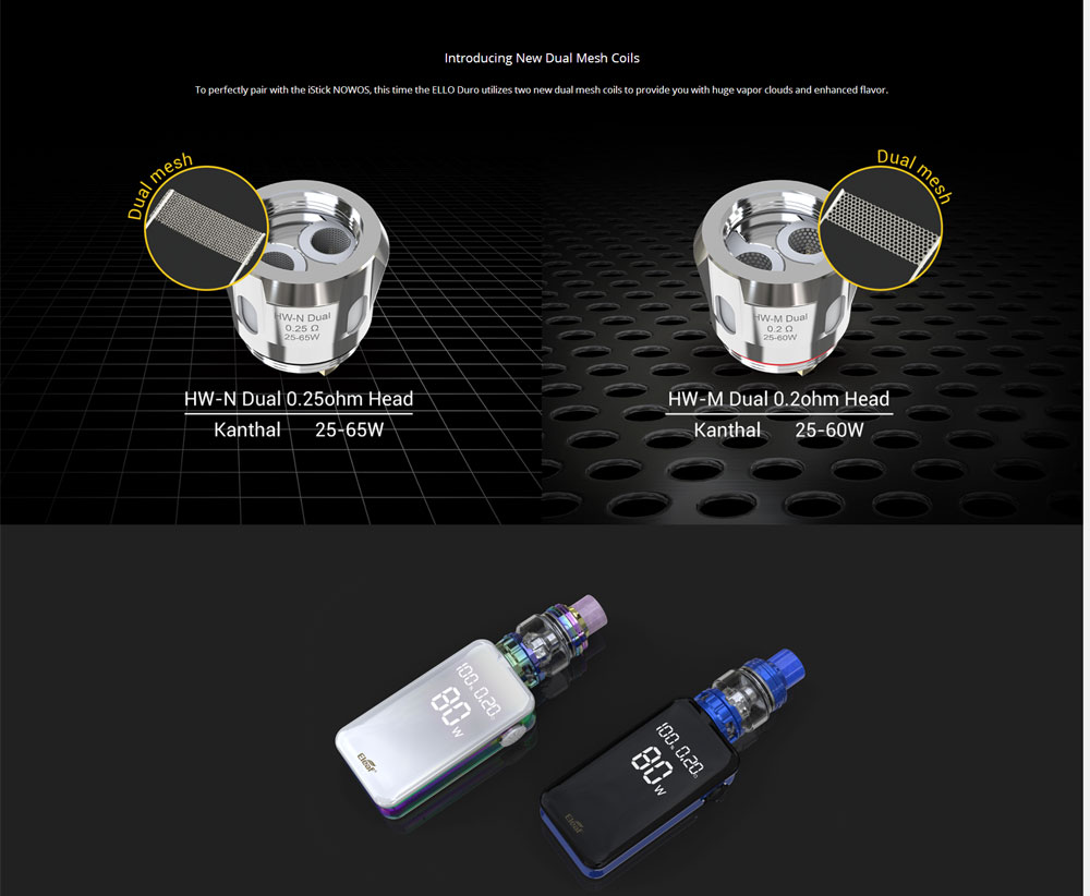, Original iStick NOWOS 80W TC Kit 4400mah Battery with 6.5ml ELLO Duro Atomizer LED digital touch E Cigarette HW-M/HW-N Coil Vape