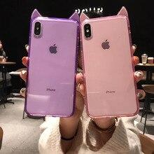 Lujosa funda de teléfono transparente con orejas de gato con diamantes brillantes para iPhone 6 6 s 7 8 Plus X XR transparente funda suave de TPU para iPhone XS Max