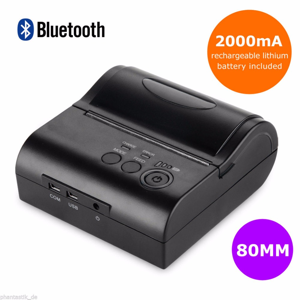 80mm Portable Bluetooth 4.0 Wireless Receipt Thermal Printer For IOS Android Window goojprt mtp ii 58mm bluetooth thermal printer portable rechargeable wireless receipt machine for windows android ios 80mm s