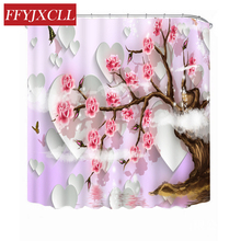 Creative Peach Cherry Blossom Butterfly Waterproof Polyester Fabric Shower Curtain Eco-Friendly Bathroom Curtain waterproof fellyfish print eco friendly shower curtain