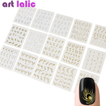 Decals Stickers Nail-Art-Decoration Water-Transfer Butterfly-Design Manicure-Slider Gold