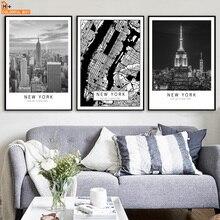COLORFULBOY New York kaart landschap kunst aan de muur canvas schilderij Nordic poster zwart wit muur foto's voor de woonkamer Decor