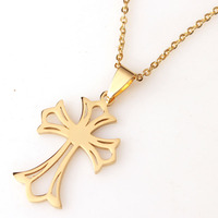 RDW Jewelry Stainless Steel Gold Cross Pendant Necklace For Women Trendy Fashion Jewelry Necklace