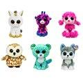 "TY Beanie Boos 6"" 15 cm Sika deer Bambi Brown Barn Owl Leopard Unicorn Soft Toys Big Eyes Plush Toy Doll Husky Cat Owl Unicorn"