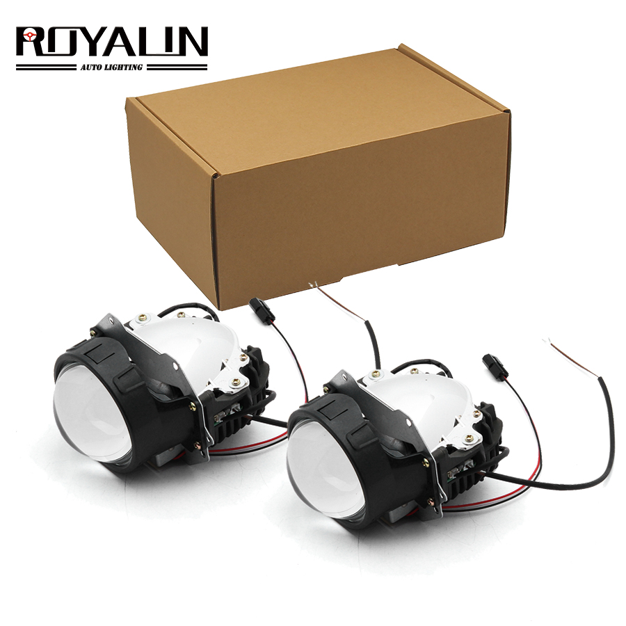 ROYALIN Car Styling Universal Bi LED Proyector Faros Lentes con chip 3.0 pulgadas Alta y baja luz de carretera Faro de luz Retrofit
