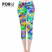 FORUDESIGNS 3D Oil Painting Women Leggings Slim Elastic Girls Push up Leggings Galaxy Colorful Legging Harajuku Pants S M L XL