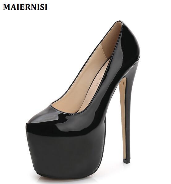 Beige Noir Pompes Haute Sexy Chaussures Mariage Plate De Printemps automne Rouge 18 Taille rose Rond Cm 44 Fétiche Ultra Femmes Talon Femme forme Grande Bout noir rouge 8wqxg57q