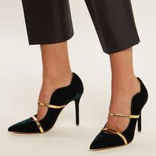 Hot Selling Black Suede Women Pumps Pointed Toe Gold Straps Patchwork Women Shoes High Heels Cut-outs Ladies Pumps Real Photo цена