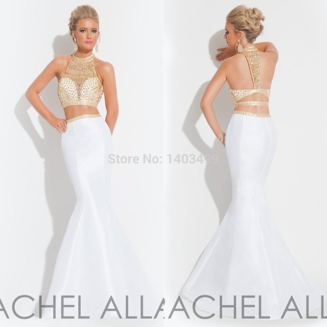 01f07352627 Rachel Allan White Mermaid Style Prom Dress Gold Rhinestone 2 Piece Evening Gown  Graduation Dresses Long 2015 robe de soiree