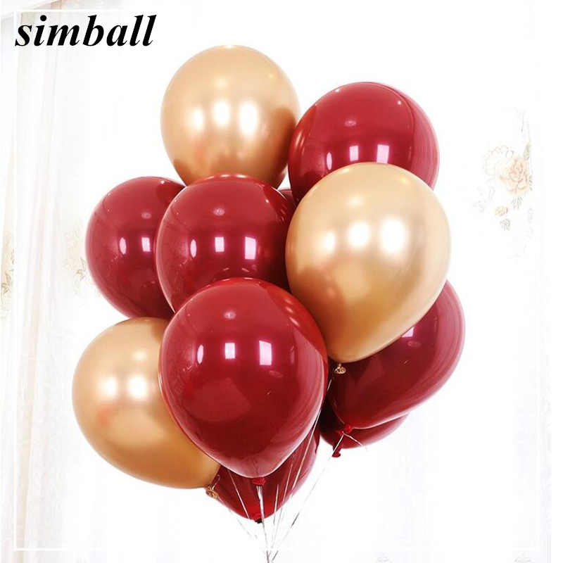 10pcs Ruby Red Balloon New Glossy Metal Pearl Latex Balloons Chrome Metallic Colors Air Balloons Globos Wedding Party Decoration