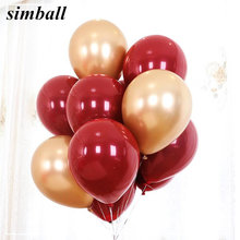 10pcs Ruby Red Balloon New Glossy Metal Pearl Latex Balloons Chrome Metallic Colors Air Balloons Globos Wedding Party Decoration(China)