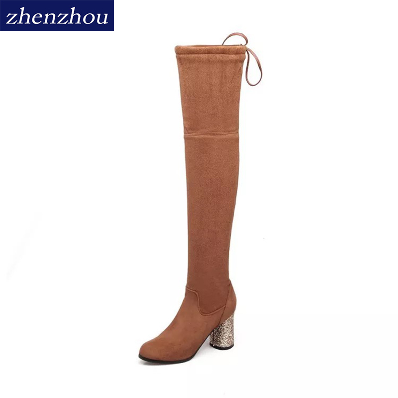 ZHENGZHOU 2018 Autumn/Winter Classic Stylish Sexy Lace-up Chic High-heels Thigh High Boots Elastic Over Knee Womens Boots 35-43