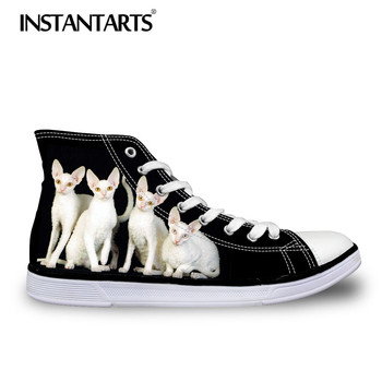 INSTANTARTS/Осенняя мужская обувь на плоской подошве; Мужская парусиновая обувь на шнуровке с 3D милым животным Корниш-Рекс, котом, безволосым при...