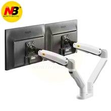 F195A NB Liga De Alumínio 22-32 de polegada Dual LCD LED Monitor de Montagem Braço de Mola a gás de Movimento Total Suporte Monitor de Suporte com 2 USB portas
