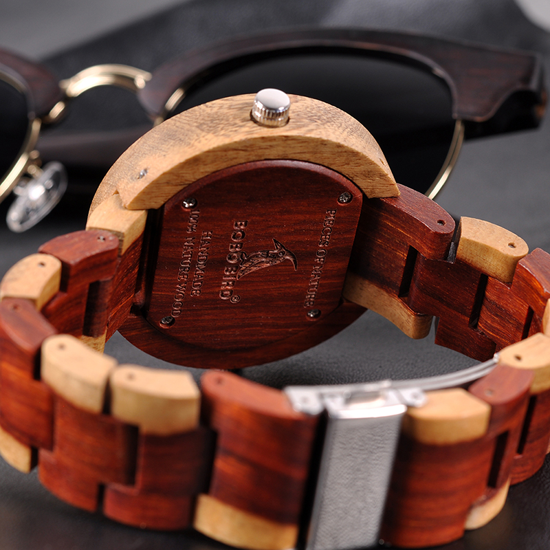 relogio masculino BOBO BIRD Watch Men 2 Time Zone Wooden Quartz Watches Women Design Men's Gift Wristwatches In Wooden Box W-R10 10