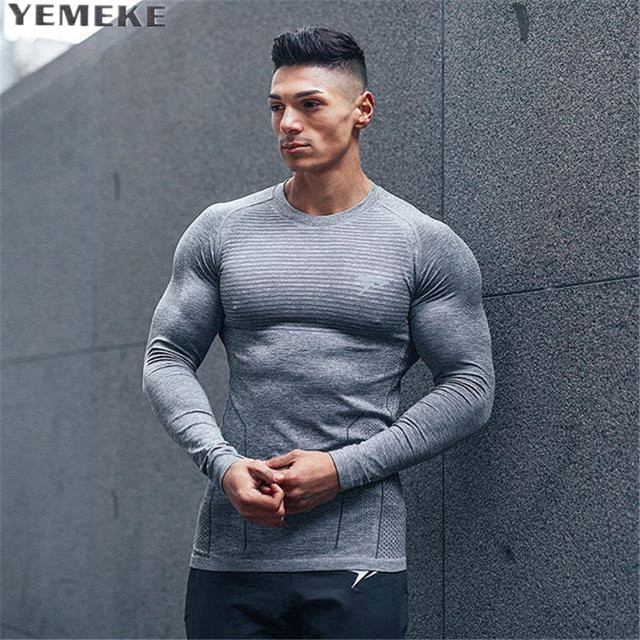 2e95b036 Mens long sleeved t shirt cotton Slim fit gyms Fitness Bodybuilding workout  fashion clothing male Casual fashion Brand tee tops