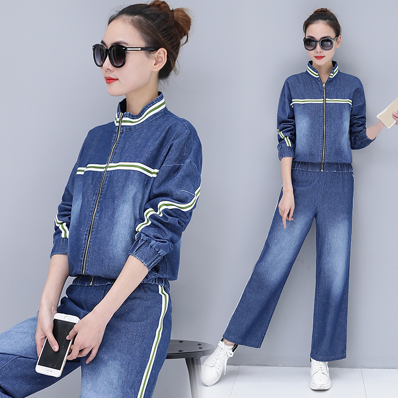 2018 Spring Womens' Large Size Jacket Tops+cowboy Wide-legged Pants Tracksuits Fashionable Female Plus Size Two-piece Tracksuit