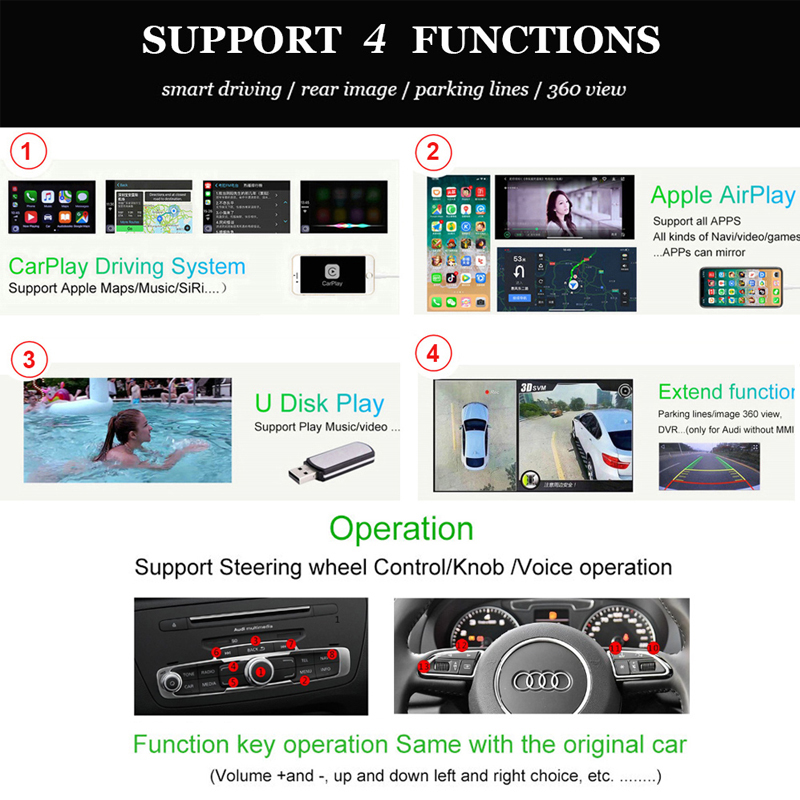 Carlinkit Wired Apple CarPlay Decoder for Audi A6 A7(C7) 3G/3G+MMI  muItimedia interface CarPlay&Android auto Retrofit Kit