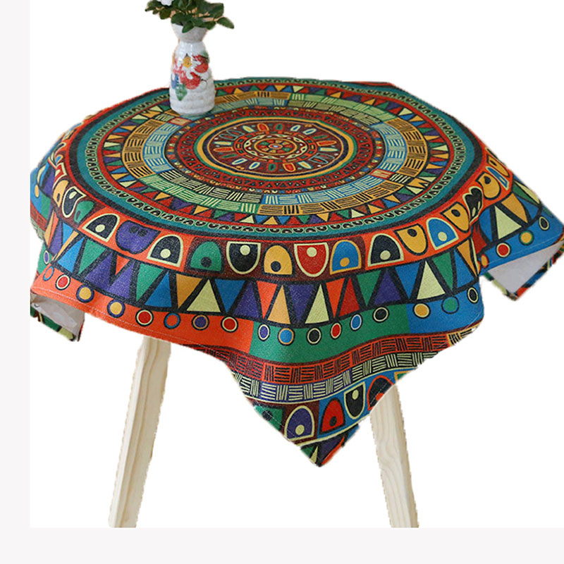 USPIRIT Indian Pastoral Tablecloth Fabric Nappe Table Cover Cotton Linen Living Room Colorful Cloth