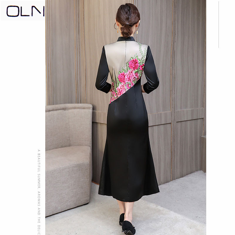 c9706f222 2019 spring new wide wife mid length long waist show sexy embroidered dress  -in Dresses from Women s Clothing on Aliexpress.com