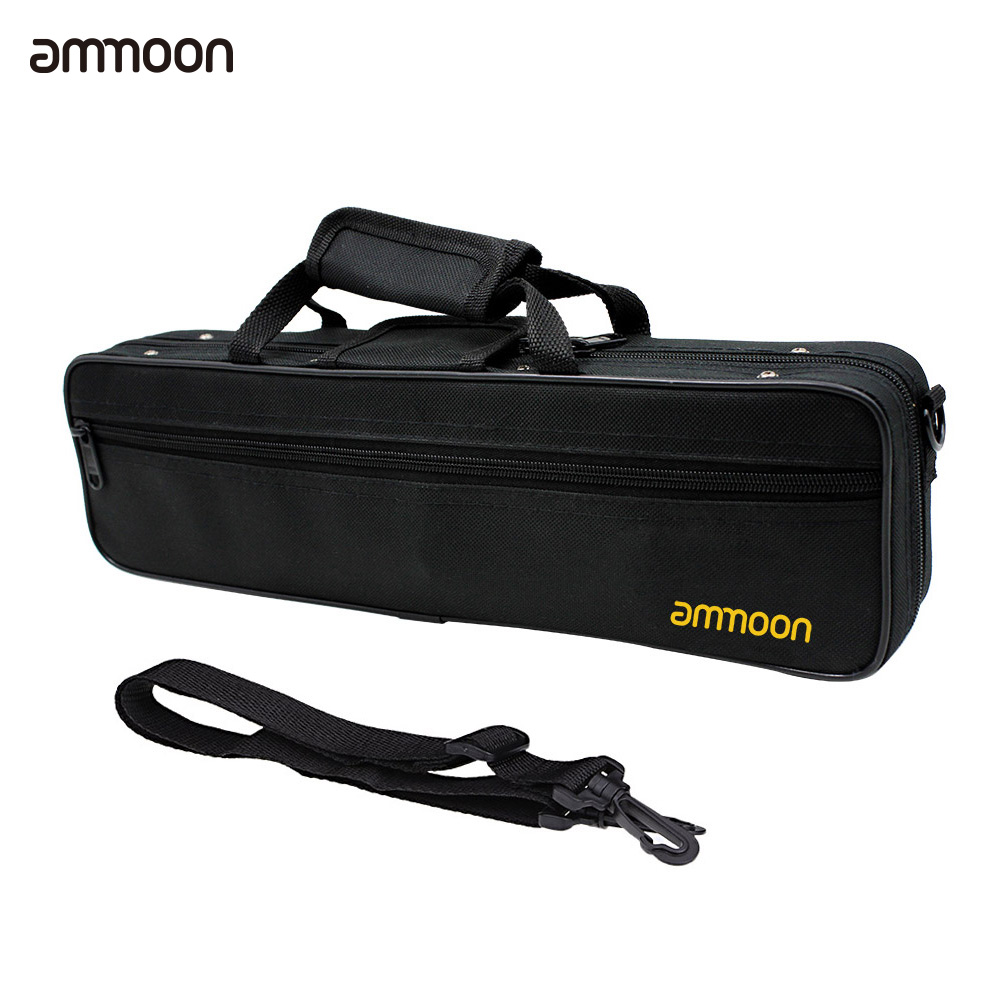 ammoon 16 Holes C Flute Case Gig Bag Backpack Box Water-resistant 600D Foam Cotton Padding with Adjustable Shoulder Strap