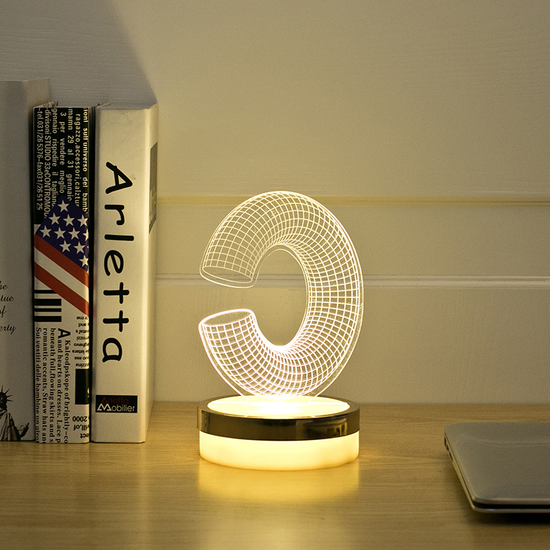 Acrylic Letter C 3D LED Lamp Baby Night Light Sleeping Lighting 5V USB Small led table Lamp Big white Creative Small Desk Lamp