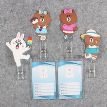 Cute Little Bear Badge Scroll Nurse Reel Vertical PVC Character Scalable Colors Exhibition ID Plastic Students Card Holder