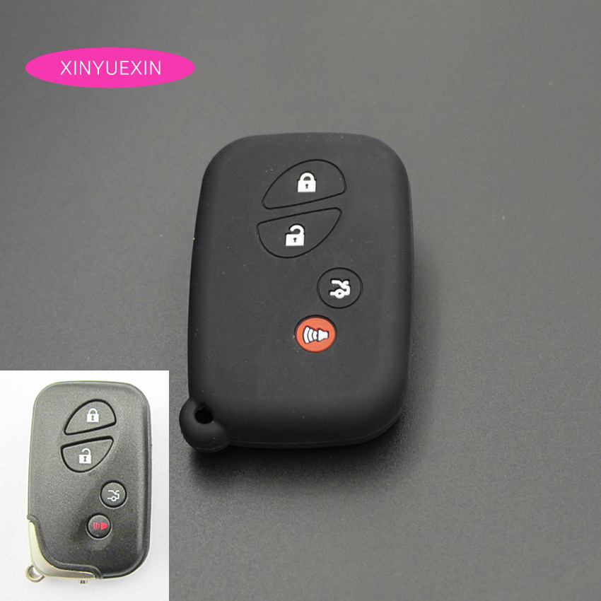 Xinyuexin Silicone Car Key Case Cover Set For LEXUS RX LX GX Smart Remote KeyLess Enter Silica Gel Car-styLing 4Buttons