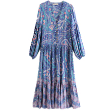 Boho Vintage Floral Print Buttons Pleated Long kimono Women 2018 New Fashion V Neck Sleeve Casual Femme Vestidos