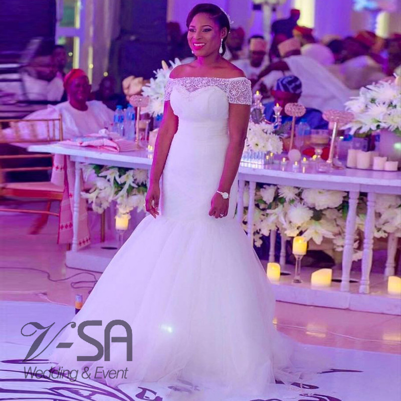 Mermaid African Wedding Dress White Bridal Gown 2016 New Design Lace ...