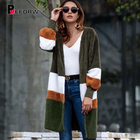 BEFORW Women Clothes 2018 New Autumn Winter Sweaters Long Cardigan Casual Loose Fleece Jacket Striped Long Sleeved Sweater