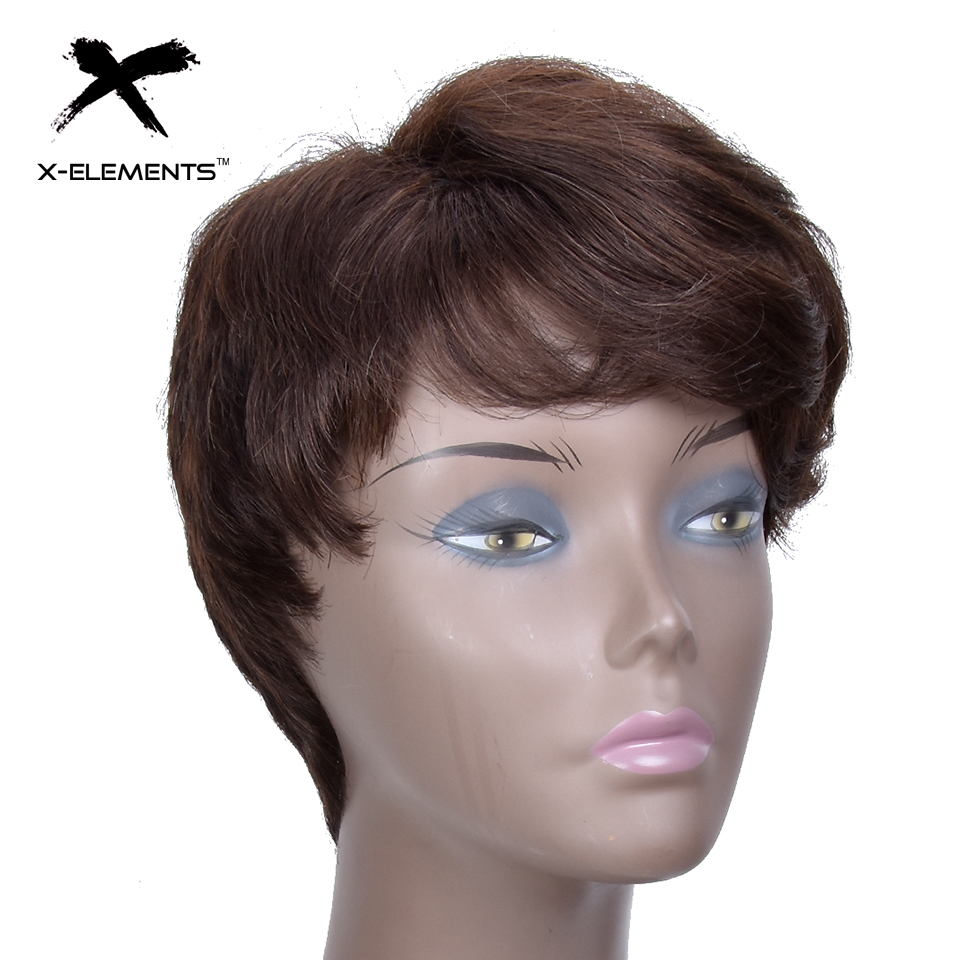 X-Elements Peruvian Short Human Hair Wigs With Bangs H.VERA Non-Remy Machine Made Natural Wave Hair Wigs For Women No Smell (2)