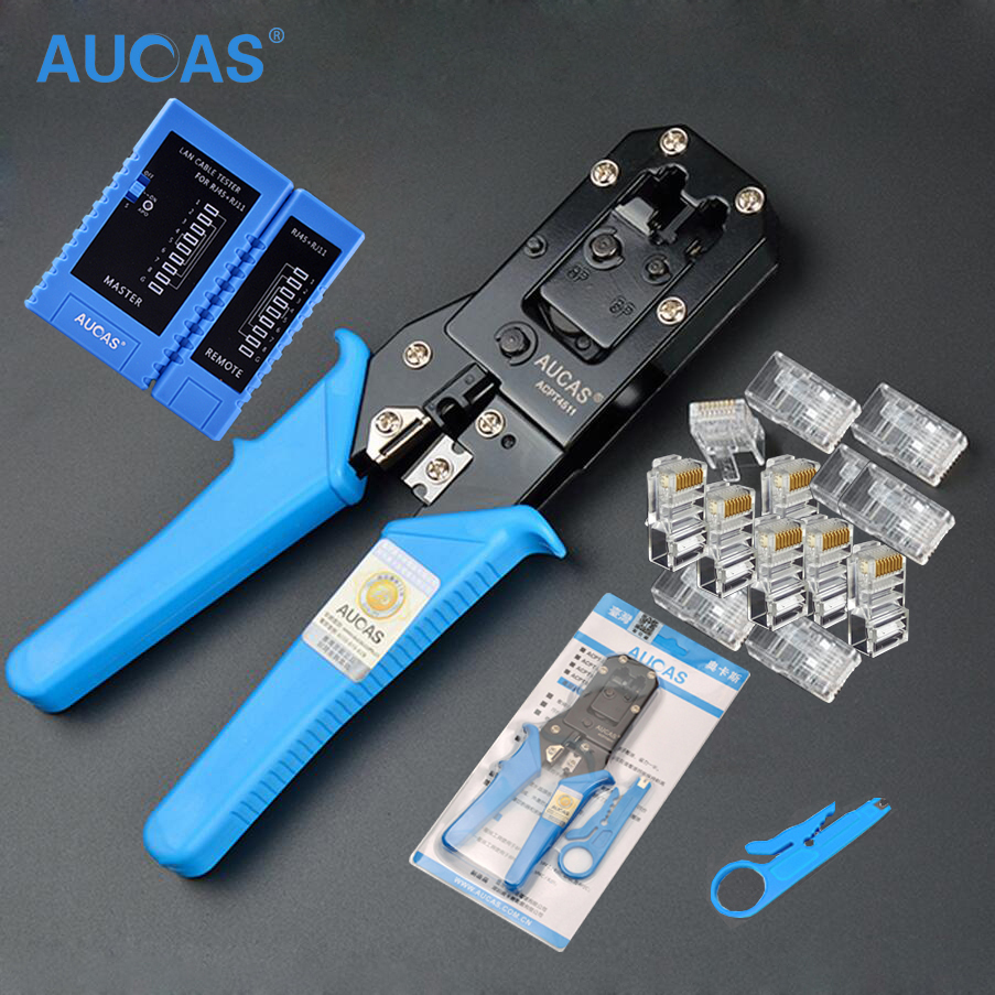 AUCAS Multifunction RJ11 RJ45 Crimping tool Cat5 Cat6 crimp tool RJ45 crimper network tools kit
