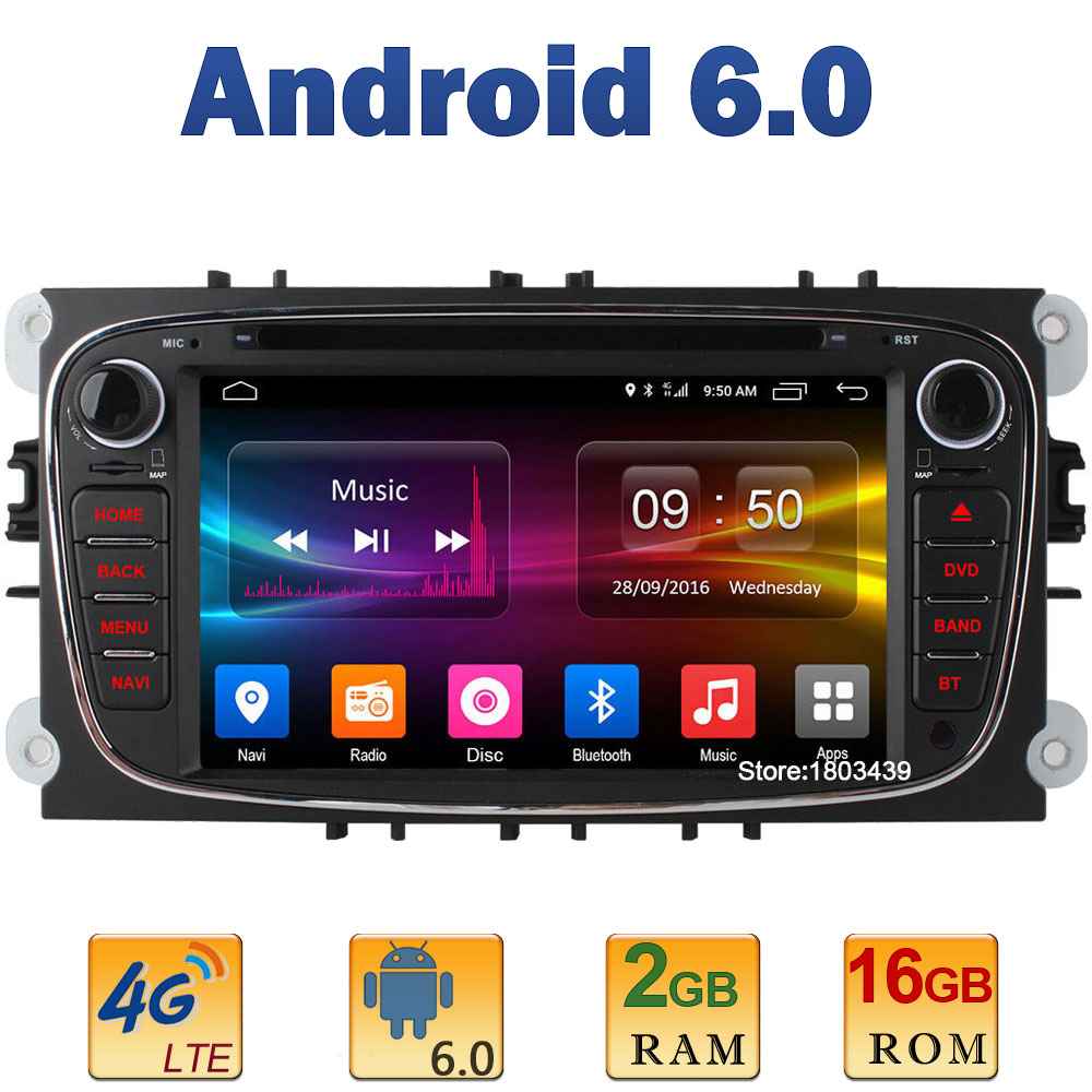 7 Quad Core 2GB RAM 4G LTE SIM WIFI Android 6 Car DVD Player Radio Stereo For Ford Mondeo S-MAX Connect Focus 2 2008 2009-2011