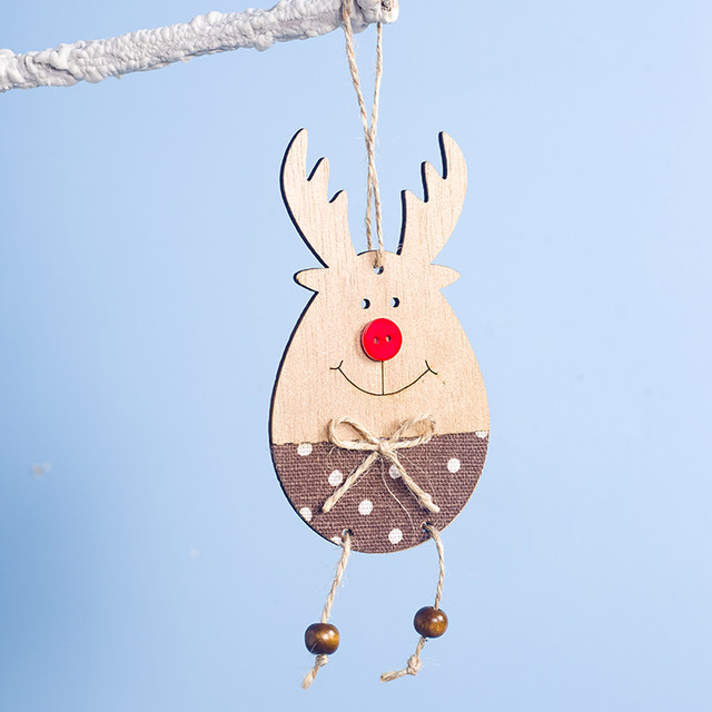 Cute Cartoon Smile Elk Wooden Ornament Christmas Tree Decoration Hanging Pendant Xmas Party Decor for Home Kids Gift Animal 2020 25