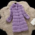 Corte de onda natural de calidad superior de piel de conejo abrigos de invierno de las mujeres collar del soporte largo delgado engrosamiento cálido abrigo de piel real prendas de vestir exteriores g89102