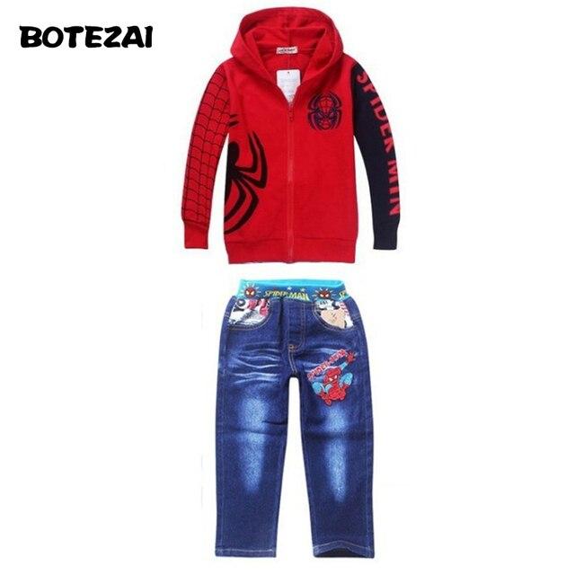1pcs Retail 2016 Spring Autumn Children's suit,boys Spiderman embroidered suit ,Children's cartoon suits,children clothing set