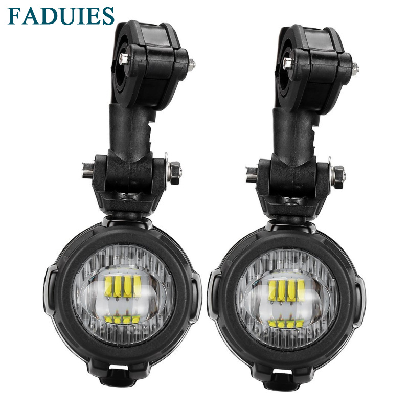 FADUIES 1Pair LED Motorcycle Auxiliary Fog Lights Safety Driving Lamp For BMW K1600 R1200GS/ADV/F800GS front head light driving aux lights fog lamp assembly for bmw r1200gs lc adv f800 f750 f650 r1150 gs motorcycle accessories