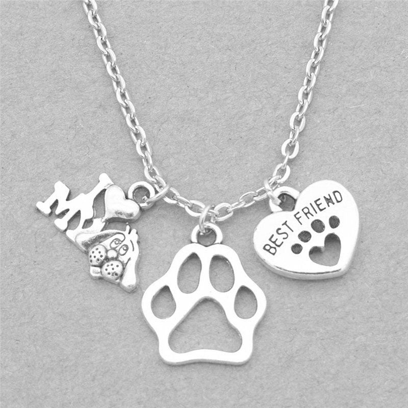New I Love My Dog Lover Gifts Cute Antique Silver Best Friend Heart Dog's Paw Pendants Chain Necklace Personality Lucky Jewelry image