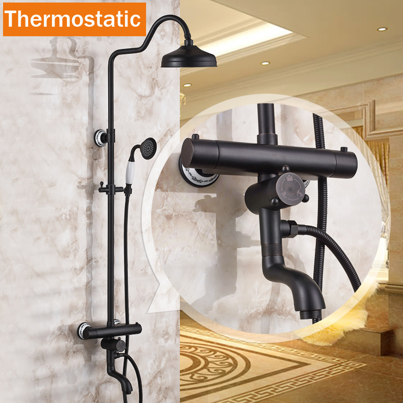 2016 Newly Thermostatic Mixer Shower Set Dual Handle 8 Rainfall Tub Shower Faucet with Handheld Shower