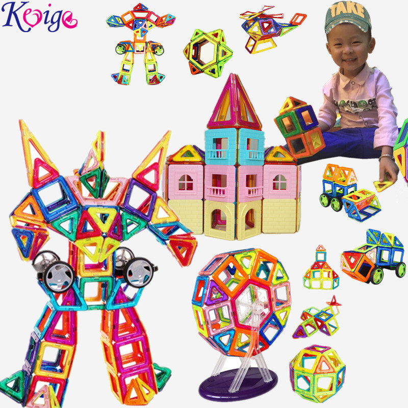 KEYIGE New Magnetic Designer Construction Set Model 3D Building Baby Toy Plastic Magnetic Blocks Educational Toys For Kids Gift mtele brand 62 pcs pcs magnetic tiles designer construction kids educational toys creative bricks enlighten toy