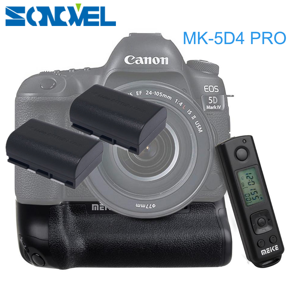 Meike MK-5D4 PRO 2.4G Wireless Remote Control Vertical Battery Grip with 2x LP-E6 Battery for Canon 5D Mark IV Camera as BG-E20 meike mk d500 pro vertical battery grip built in 2 4ghz fsk remote control shooting for nikon d500 camera as mb d17