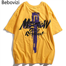 Bebovizi Brand Streetwear Urban Style Short Sleeve T Shirts Hip Hop Casual Cotton Cross Printed Tops Tees Men Oversize Tshirts