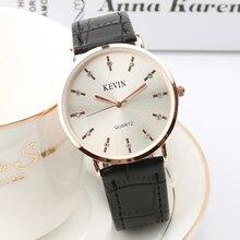 4a77404cd04 Kevin 2018 Nova casual Slim homens de couro relógio de quartzo ultra fino  relógios clássicos relógios · 6 Cores Disponíveis
