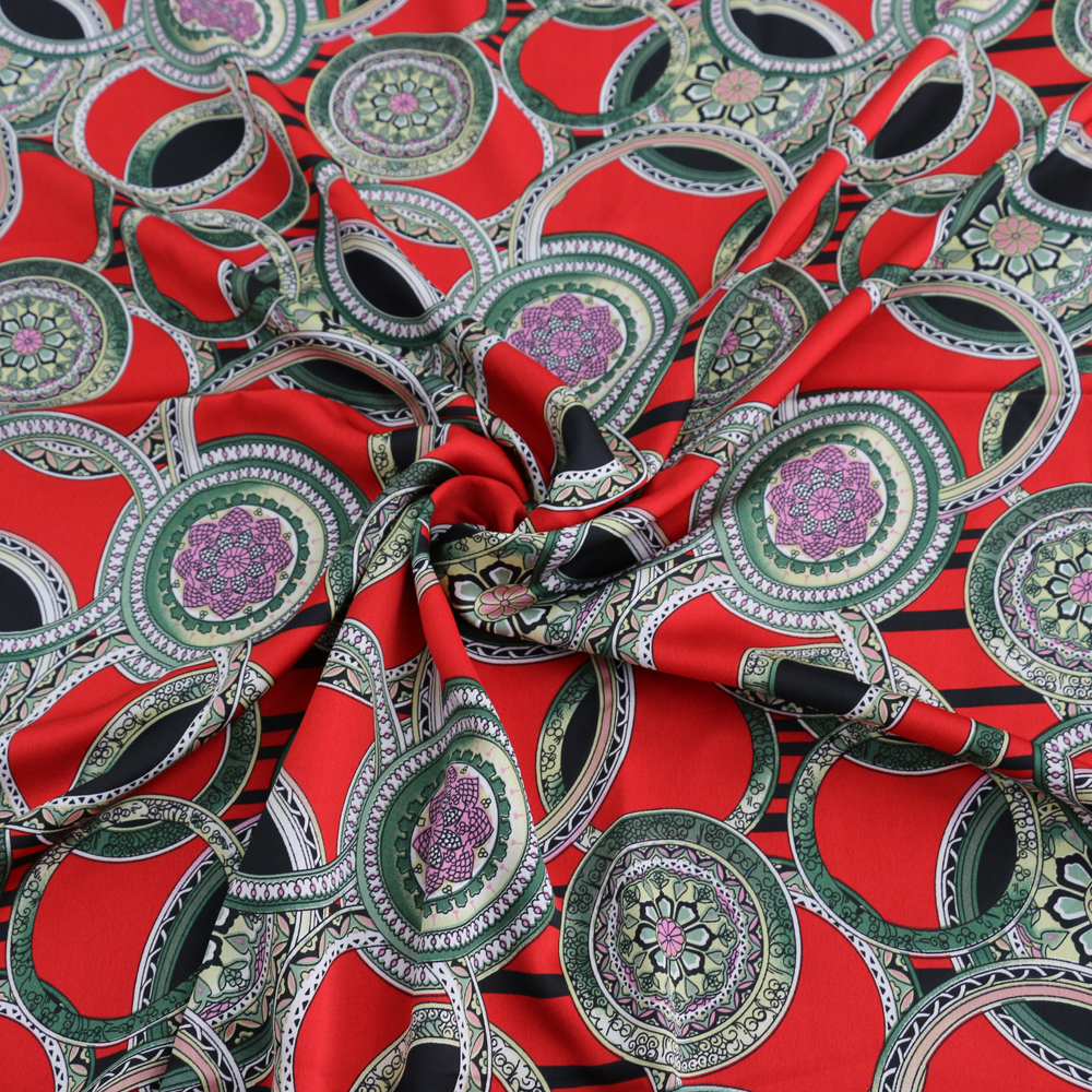 Vintage Floral Circle Patterned Crepe Satin fabric Stretch Imitate Silk cloth Dress Material Charmeuse Fabric 100cm*148cm circle